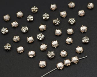 36 pcs rose montee beads, round clear rhinestones silvertone cross hole monte 4mm