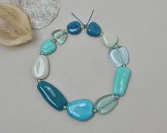 Wet beach glass pebbles - Artisan lampwork beads by Loupiac