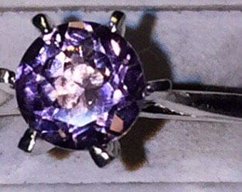 Amethyst silver solitaire size 7