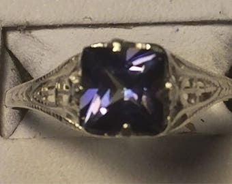Mystic blue topaz silver ring size 7