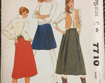 80's McCall's 7710 Misses' Skirt size 12 Waist 26.5 inches  Uncut Complete Sewing Pattern