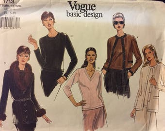 Vintage Vogue Cardigan and Top Sewing Pattern Vogue 1713  Misses'  Size 14-16-18 Bust 36-40 inches Complete
