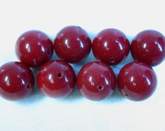 Vintage DYED RED CHALCEDONY Beads 12mm pkg 8 rb4