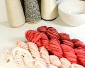 hearts beat  ... handspun yarn set, weaving creative yarn bundle, hand spun, hand dyed yarn, handspun art yarn