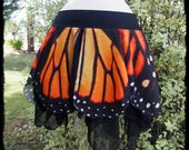 Monarch Butterfly Wing Pixie Skirt, Size Large to Extra Large - Ready to Ship - Festival Boho Pixie Fairy Fae Cosplay Hippie