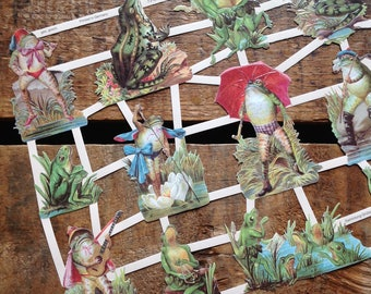 German Scraps - Frogs in Costume - Die Cuts, Cut Outs, Reproduction, Vintage Style, Vintage Inspired, Paper Ephemera, Funny Animals