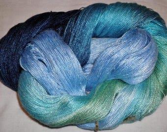 Hand dyed Tencel Yarn - 6/2 Tencel Lace Wt. Yarn  SHARK TALE- 630 yards
