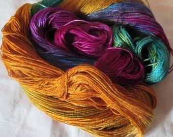 Hand dyed Tencel Yarn - 4/2 Tencel Lace Wt. Yarn  BERRY RUM - 420 yards