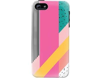 80's Memphis Design Cell Phone Case (fits all types of phones) - Tough case with rubber bumper and liner