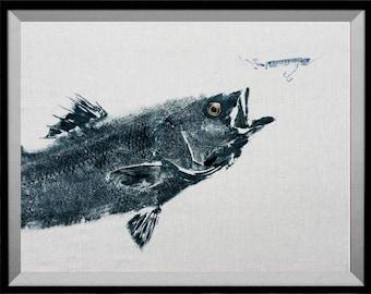 "GYOTAKU fish Rubbing Striped Bass Art Print 8"" X 10"" Fisherman Gift quality Salt Water Art Print by artist Barry Singer"