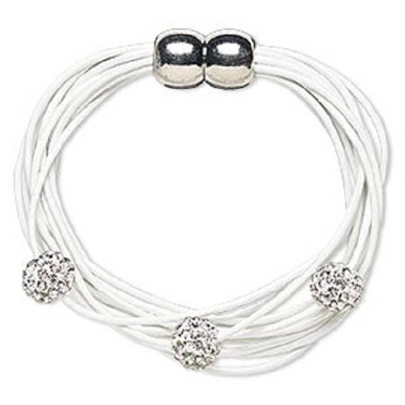 White Leather Bracelet with Rhinestone Accents