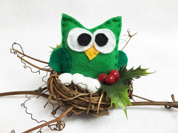 Owl Nest, Christmas Decoration, Timothy the Owl, Winter Branch, Snow and Berries