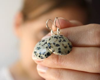 White and Black Earrings . Dalmatian Jasper Earrings . Circle Stone Earrings . Pet Loss Jewelry - Adriatic Collection NEW