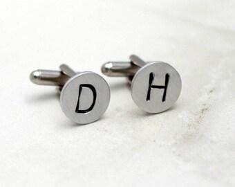 Personalized Cuff Links, Initial Cuff Links, Wedding Cuff Links, Hand Stamped Cufflinks