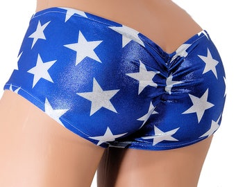 Blue White Stars Super Hero Low Rise Scrunch Butt Booty Shorts Adult XS - MTCoffinz - Ready to Ship