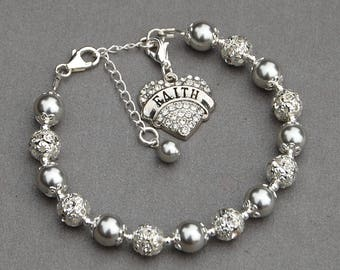 Faith Bracelet, Religious Jewelry, Inspirational Bracelet, Faith Jewelry, Encouragement Gift, Motivational Bracelet, Meaningful Jewelry