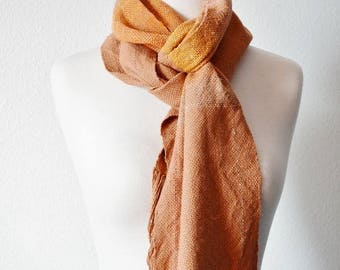 First Fall Sale - 15% Off TERRACOTTA ARMY - Handwoven Scarf in Terracotta, Clay, Saffron Yellow, Orange. Tiny Stripes and Colorblocks. Sunse