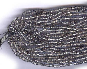 vintage glass SEED BEADS FOIL lined deep silver gray glass seed beads over 500 beads 18 beads per inch