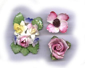 three vintage porcelain flowers INSPIRATION BOLD flowers repurpose articulated texture bridal bouquet flowers