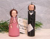 Abraham LINCOLN Ornament and/or Mary Todd Lincoln Ornament, handpainted on wood
