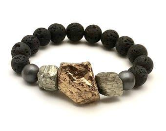 Black and Gold Bohochic Chunky Beaded Bracelet  Titanium  Quartz  Statement Unisex Under 140 Free US Shipping & Gift Wrap