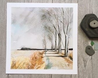 Winter trees landscape watercolor painting