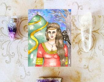 Goddess Art Avalon Morgan Le Fay Priestess Prayer Card Fantasy Art Mystical Divine Feminine Glastonbury Magickal Sacred Art Pagan Mythology