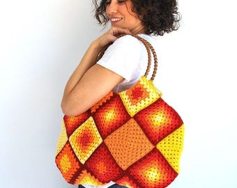 20% WINTER SALE Granny Sguare Afghan Colorful Croched Handbag - Red Orange Yellow