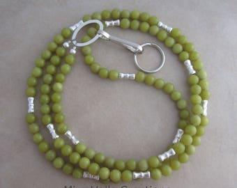 olive green jade silver lanyard badge ID holder