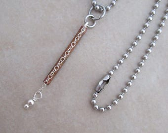 dainty sterling silver necklace stainless steel oxidized copper
