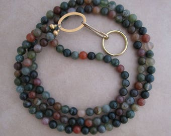 lanyard fancy jasper gold badge ID holder