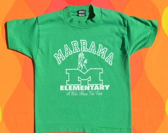 80s vintage kids t-shirt MARRAMA school mustangs denver green tee youth Small 90s