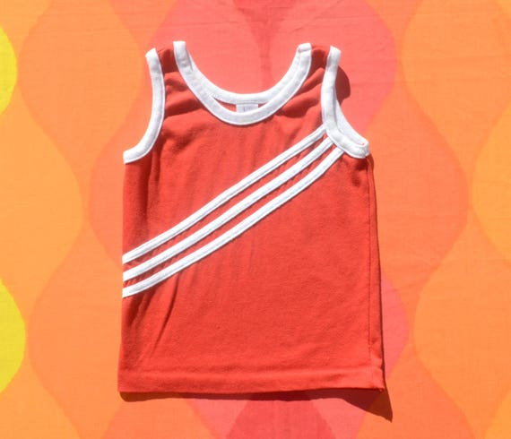 vintage 70s kid's tank top ringer stripe DIAGONAL red white children's youth 7 80s preppy