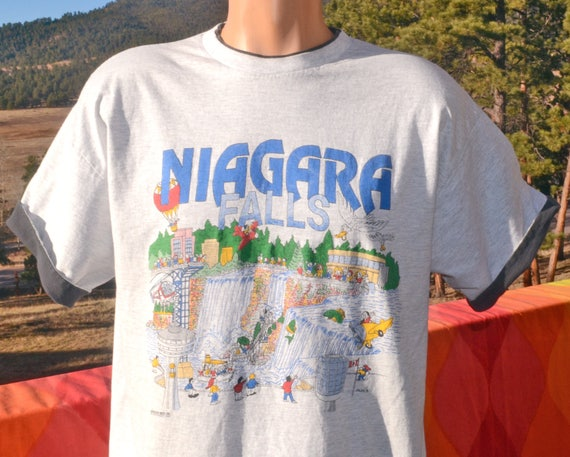 vintage 90s t-shirt NIAGARA falls new york canada roll up sleeve ringer tee Large XL