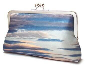 Clutch bag, sunset, clouds, blue sky, printed silk purse, heavens, cloudscape bag