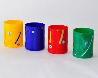 Murano Milefori Glass Tumblers, Yellow Cobalt Blue Red Green, Set of 4