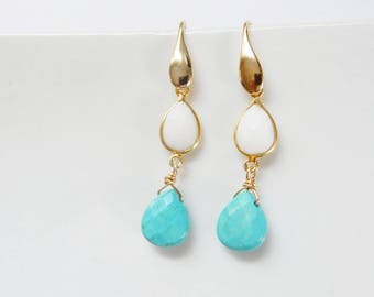 Gold turquoise and white jade teardrops are dangleing from teardrop earwires. Gold plated sterling silver,