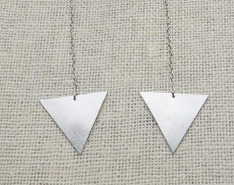 Sterling silver triangle chain earrings, silver triangle