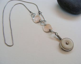 Sterling Silver Artisan Oxidized Necklace with Bone Spinner Pendant