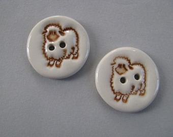 Pair of Buttons Sheep Handmade Ceramic