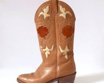 SUMMER SALE/ 30% off Vintage 60s 70s TEXAS Caramel Brown Cut Out Cowboy Boots (size 5.5M)