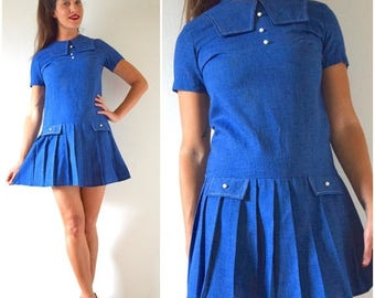 SUMMER SALE/ 30% off Vintage 60s Blue Chambray Dropped Waist Pleated Sailor Shift Dress (size small, medium)