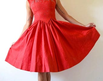 SUMMER SALE/ 30% off Vintage 50s First Dance Red New Look Party Dress with Rhinestone Bodice  (size xs, small)