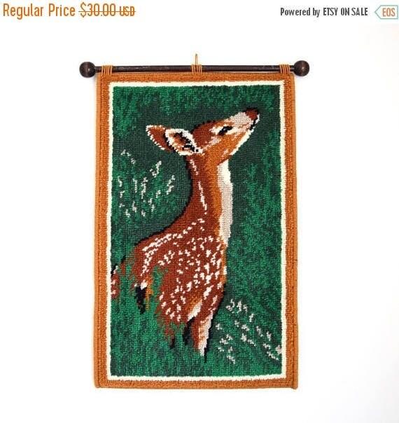 SUMMER SALE / 20% off Vintage 60s 70s Deer Woven Wall Hanging