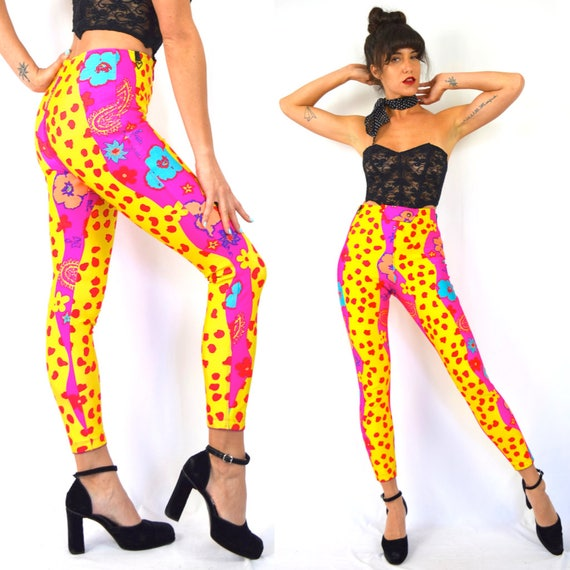Vintage 80s 90s does 50s Obermeyer High Waisted Skin Tight Psychedelic Day Glo Print Cigarette Leg Ski Pants (size xs, small)
