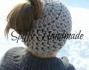 CHOOSE FROM 5 COLORS!  Messy Bun or Ponytail Hat Beanie in Soft Warm Chunky Yarn Top Knot Elastic Band