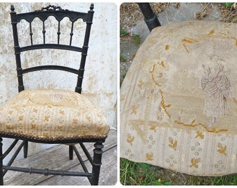 "Vintage Antique 1890s Victorian Napoleon III  French twisted black wood &  "" tapestry petit point "" lady chair"