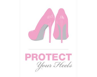 Protect Your Heels Sign Printable Custom DIY You Print Ceremony Reception Sign Madly Modern Pink and Gray