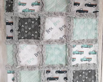 Vintage Trucks Quilt - Vintage Cars Quilt -  Truck Blanket - Minky Rag Quilt - Truck Quilt - Mint and Gray Quilt for Baby Boy
