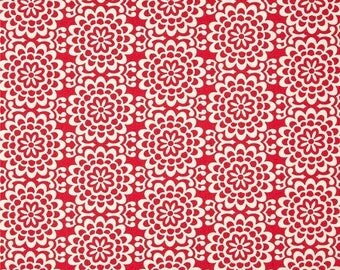 HALF YARD - Amy Butler Fabric, True Colors, Wallflower in Poppy Red, cotton quilting fabric -  SALE